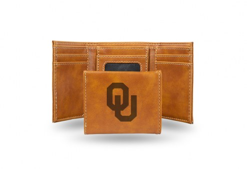 Oklahoma Sooners Laser Engraved Brown Trifold Wallet