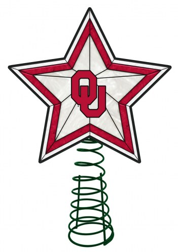 Oklahoma Sooners Light Up Art Glass Tree Topper