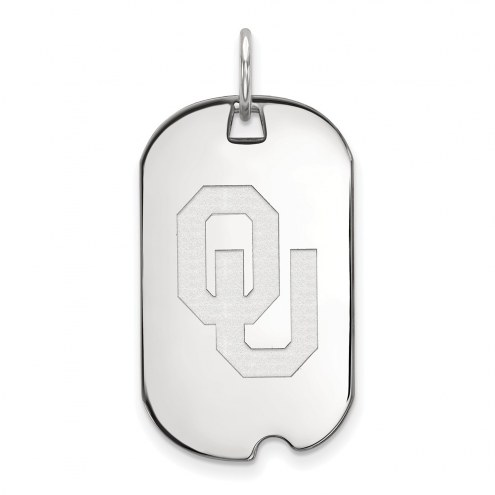 Oklahoma Sooners Sterling Silver Small Dog Tag