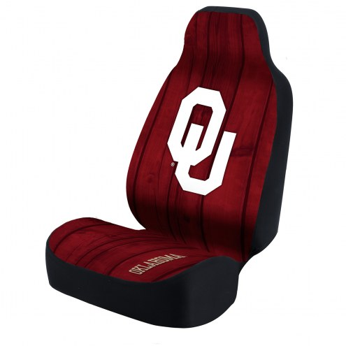 Oklahoma Sooners Red Distressed Wood Universal Bucket Car Seat Cover