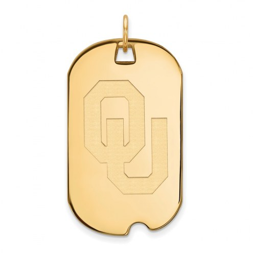 Oklahoma Sooners Sterling Silver Gold Plated Large Dog Tag