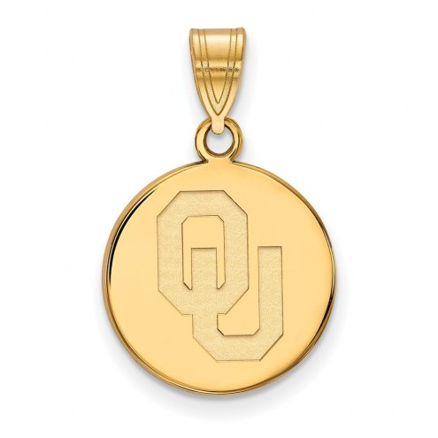 Oklahoma Sooners Sterling Silver Gold Plated Medium Disc Pendant