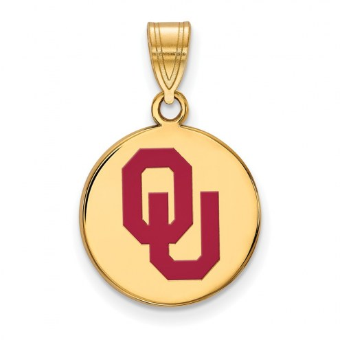 Oklahoma Sooners Sterling Silver Gold Plated Medium Enameled Disc Pendant