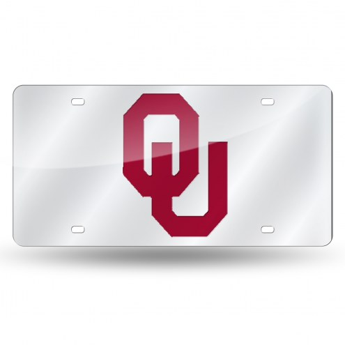 Oklahoma Sooners Silver Laser License Plate