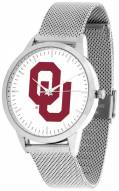 Oklahoma Sooners Silver Mesh Statement Watch