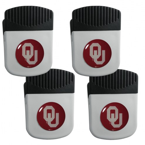 Oklahoma Sooners 4 Pack Chip Clip Magnet with Bottle Opener
