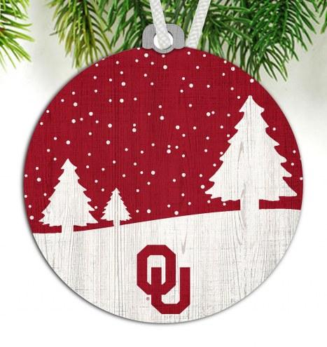 Oklahoma Sooners Snow Scene Ornament