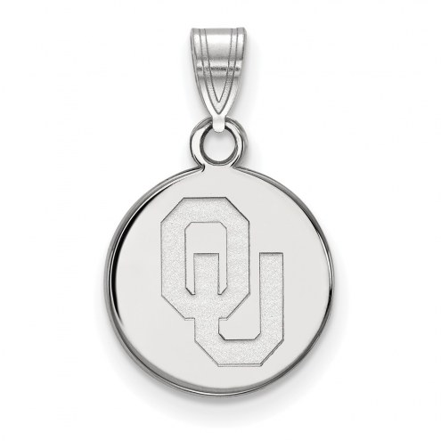Oklahoma Sooners Sterling Silver Small Disc Pendant