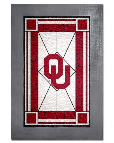 Oklahoma Sooners Stained Glass with Frame