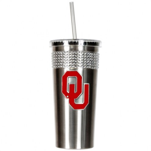 Oklahoma Sooners Stainless Steel Bling Tumbler with Straw