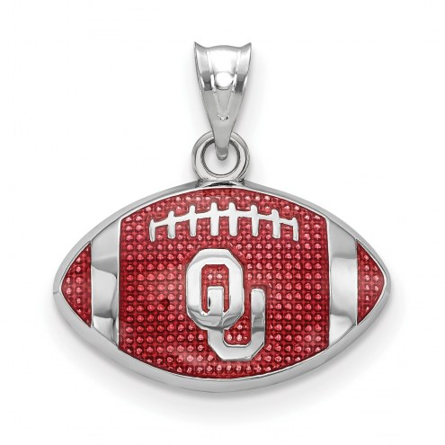 Oklahoma Sooners Sterling Silver Enameled Football Pendant