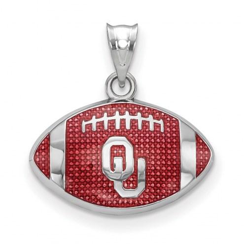 Oklahoma Sooners Sterling Silver Enameled Football Pendant