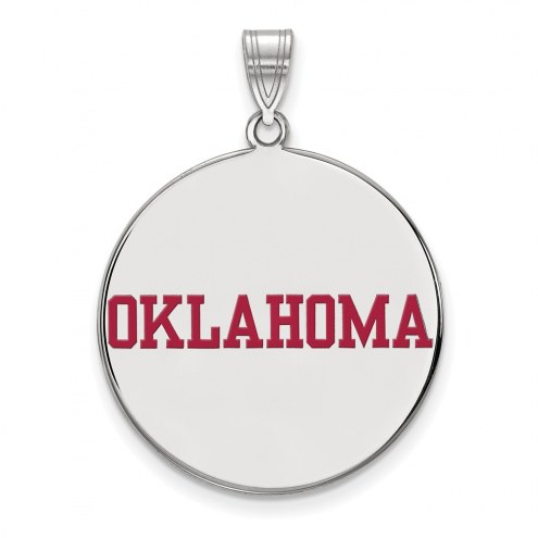 Oklahoma Sooners Sterling Silver Extra Large Enameled Disc Pendant