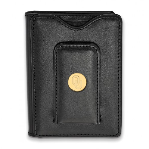 Oklahoma Sooners Sterling Silver Gold Plated Black Leather Wallet
