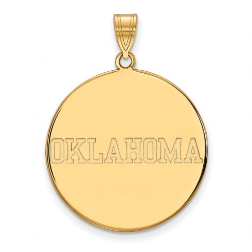 Oklahoma Sooners Sterling Silver Gold Plated Extra Large Disc Pendant