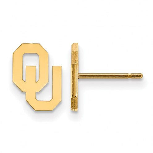 Oklahoma Sooners Sterling Silver Gold Plated Extra Small Post Earrings