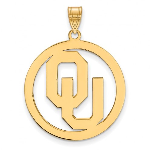 Oklahoma Sooners Sterling Silver Gold Plated Large Circle Pendant