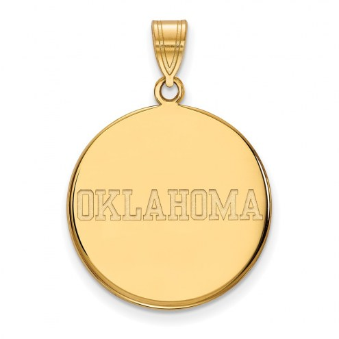 Oklahoma Sooners Sterling Silver Gold Plated Large Disc Pendant