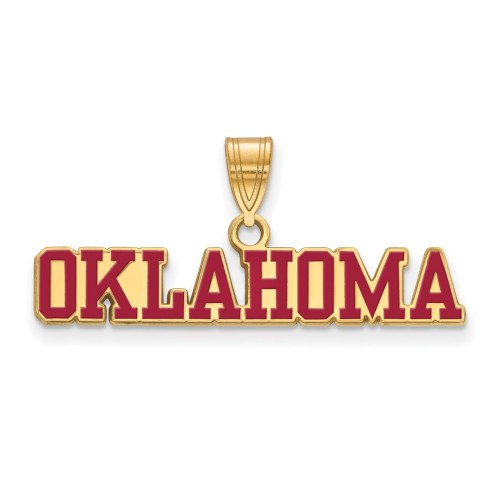 Oklahoma Sooners Sterling Silver Gold Plated Large Enameled Pendant
