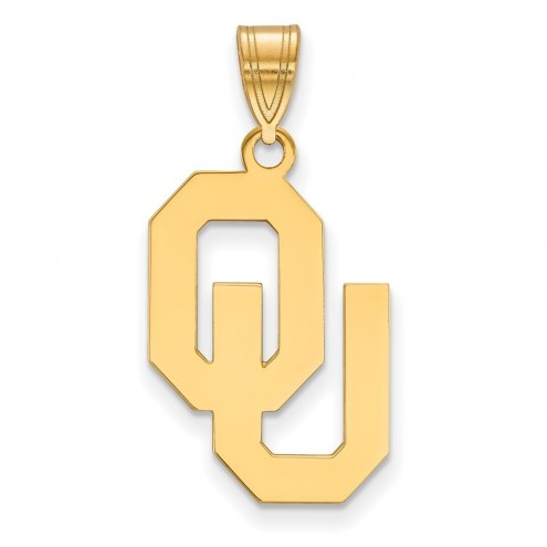 Oklahoma Sooners Sterling Silver Gold Plated Large Pendant