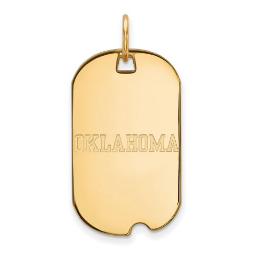 Oklahoma Sooners Sterling Silver Gold Plated Small Dog Tag