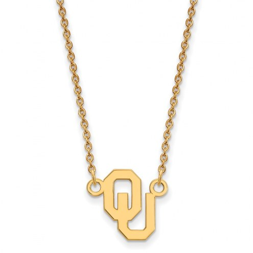 Oklahoma Sooners Sterling Silver Gold Plated Small Pendant Necklace