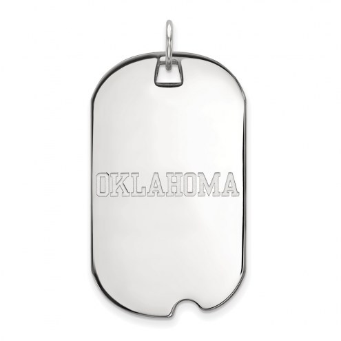 Oklahoma Sooners Sterling Silver Large Dog Tag
