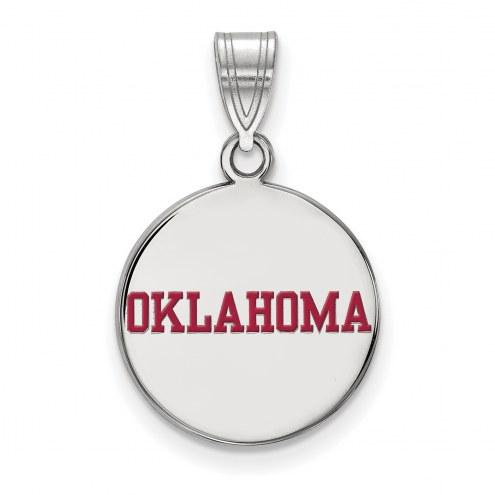 Oklahoma Sooners Sterling Silver Medium Enameled Disc Pendant