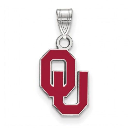 Oklahoma Sooners Sterling Silver Small Enamel Pendant