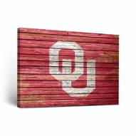 Oklahoma Sooners Weathered Canvas Wall Art
