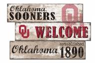 Oklahoma Sooners Welcome 3 Plank Sign