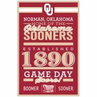 Oklahoma Sooners Established Wood Sign