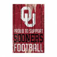 Oklahoma Sooners Proud to Support Wood Sign