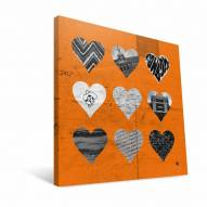 "Oklahoma State Cowboys 12"" x 12"" Hearts Canvas Print"