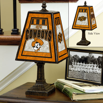 Oklahoma State Cowboys Art Glass Table Lamp