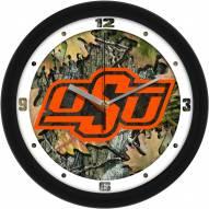 Oklahoma State Cowboys Camo Wall Clock