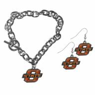 Oklahoma State Cowboys Chain Bracelet & Dangle Earring Set
