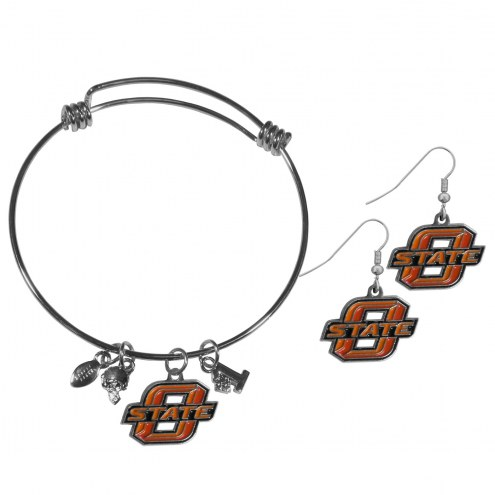 Oklahoma State Cowboys Dangle Earrings & Charm Bangle Bracelet Set