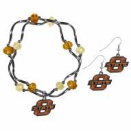 Oklahoma State Cowboys Dangle Earrings & Crystal Bead Bracelet Set