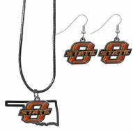 Oklahoma State Cowboys Dangle Earrings & State Necklace Set