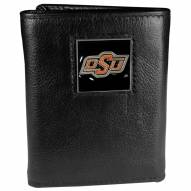 Oklahoma State Cowboys Deluxe Leather Tri-fold Wallet in Gift Box