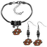 Oklahoma State Cowboys Euro Bead Earrings & Bracelet Set