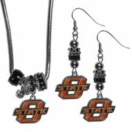 Oklahoma State Cowboys Euro Bead Earrings & Necklace Set