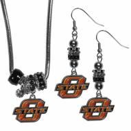 Oklahoma State Cowboys Euro Bead Earrings & Necklace Set