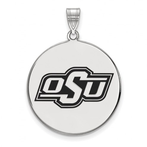 Oklahoma State Cowboys Sterling Silver Extra Large Enameled Disc Pendant