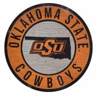 Oklahoma State Cowboys Round State Wood Sign