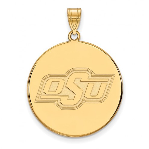 Oklahoma State Cowboys Sterling Silver Gold Plated Extra Large Disc Pendant
