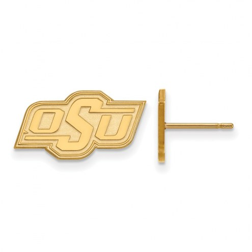 Oklahoma State Cowboys Sterling Silver Gold Plated Extra Small Post Earrings