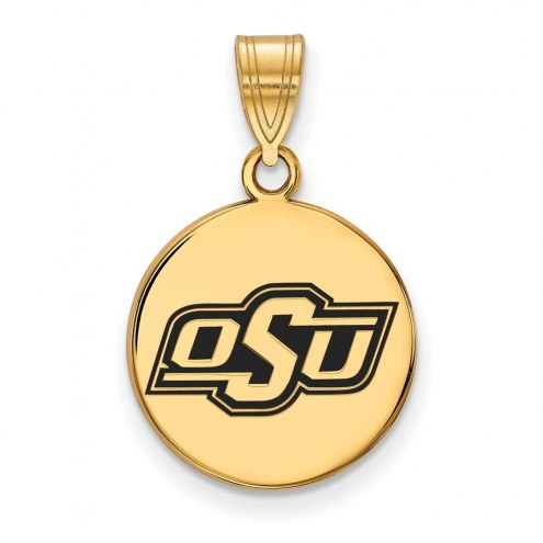 Oklahoma State Cowboys Sterling Silver Gold Plated Medium Enameled Disc Pendant