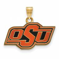 Oklahoma State Cowboys Sterling Silver Gold Plated Small Enameled Pendant